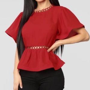 Fashion Nova Red peplum top. - M